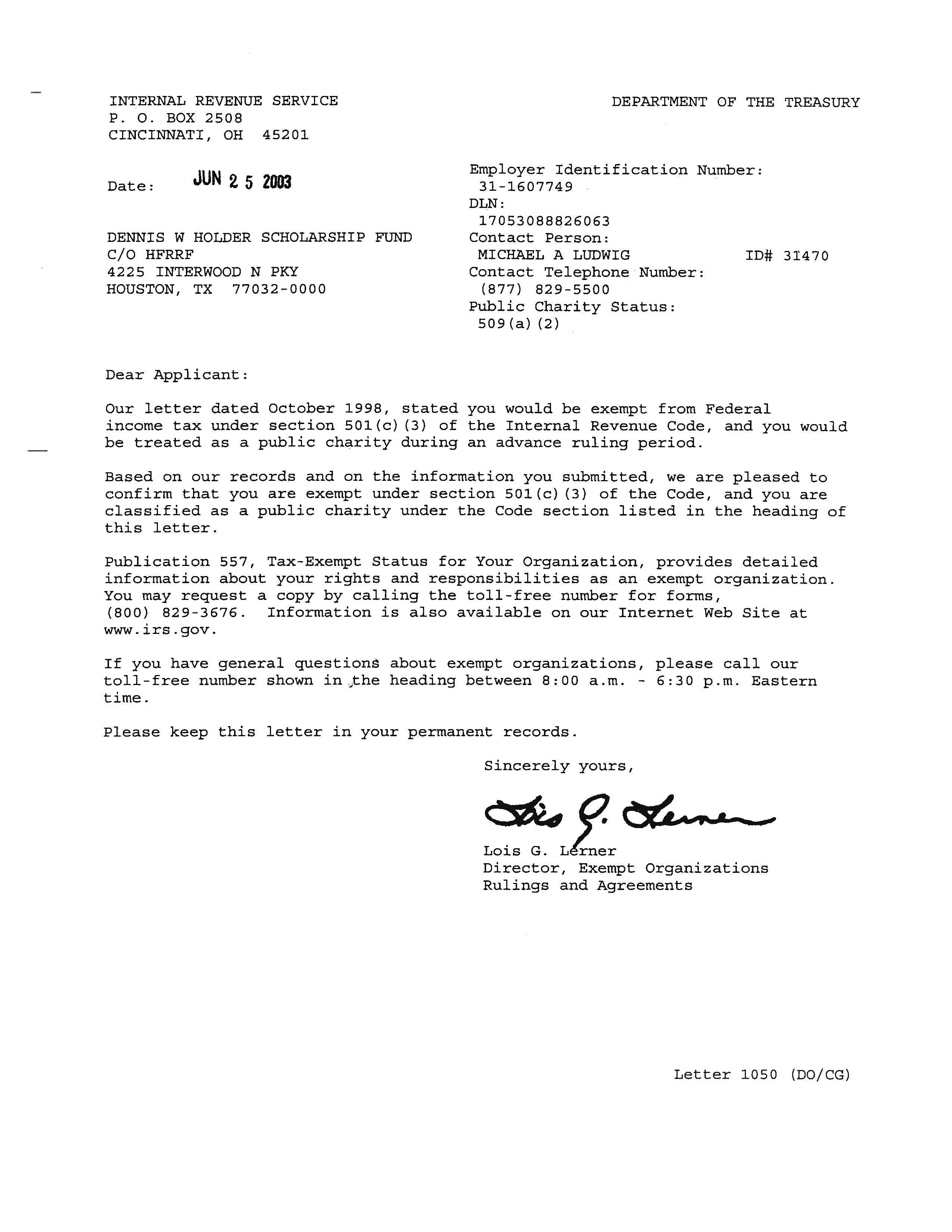 15 c 15 – Dennis W. Holder Scholarship Fund